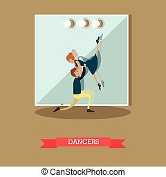 Dancers vector illustration in flat style