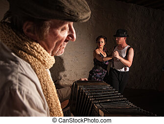 Dancers with Squeezebox Performer - Two European tango...