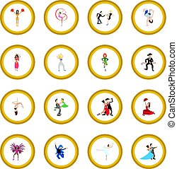 Dances cartoon icon circle