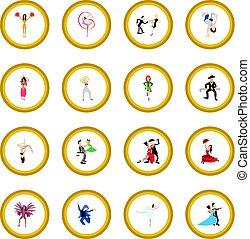 Dances cartoon icon circle
