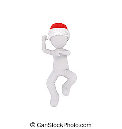 Dancing 3D figure in Christmas hat