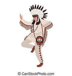 Dancing American Indian wearing ethnic costume and war...