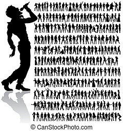 dancing and singing people big set - over 200 vector...