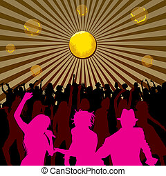 Dancing and Singing People Silhouettes - Disco concept,...