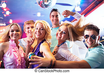 Dancing at party - Portrait of glamorous girls dancing at ...
