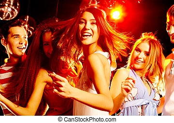 Dancing at party - Portrait of laughing girl in white dress...