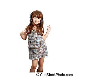 :, dancing, azie, schattig, muziek, vrolijke , vrijstaand, jaren, hardloop, headphones, af)knippen, levensstijl, witte , path., oud, meisje, concept, hartstocht, het luisteren, weinig; niet zo(veel), europa, 5, gemengd, achtergrond