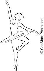 Dancing ballerina - The purest black lines of graceful...