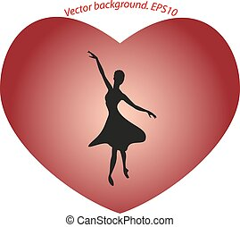 Dancing ballerina in a big red heart in the form of a silhouette.