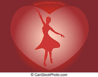 Dancing ballerina in a big red heart in the form of a silhouette on the bright basis.