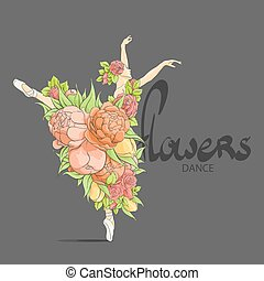 Dancing ballerina in flowers