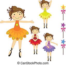 dancing ballerinas - set of beautiful ballerina characters ...