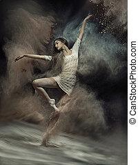 dancing, ballet danser, met, stof, in, de, achtergrond