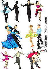 dancing - ballroom dancers - dancing silhouettes, latino...