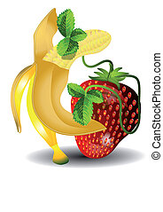 dancing banana and strawberries