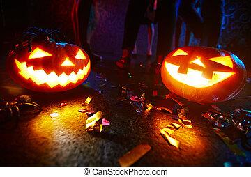 Dancing between pumpkins