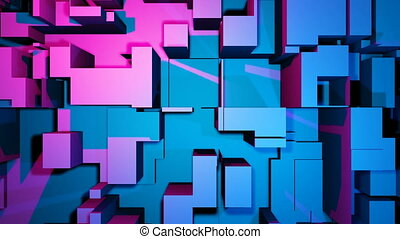 Dancing block, building in blue and pink color. Music party club background.