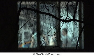 Dancing Blurred Silhouettes in Window through Branches of Tree