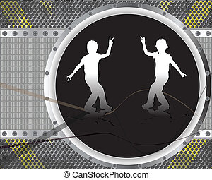 dancing boys abstract
