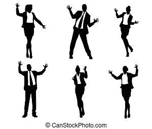 Dancing business people