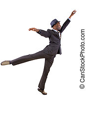 Dancing Businessman - young black businessman in a suit...