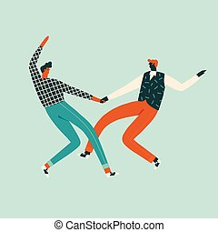 Dancing characters couple card in retro 50s style illustration.