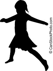 dancing child, silhouette