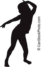 dancing child, silhouette vector