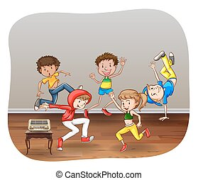 Children dancing in a room on white background