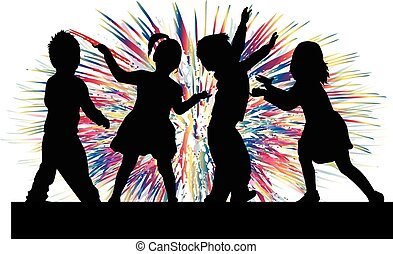 Dancing children. Silhouettes people conceptual.