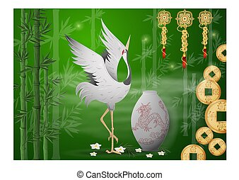 dancing Chinese crane next to a vase and coins and talismans on a background of bamboo