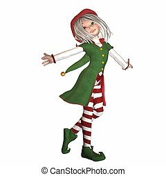 Dancing Christmas Elf - Illustration of a dancing christmas...