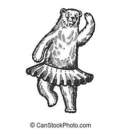 Dancing circus bear animal engraving vector illustration....