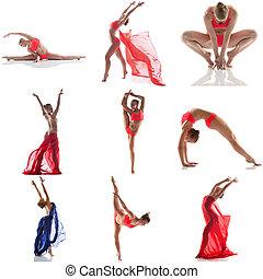 dancing, collage, foto studio, soepel, meisje