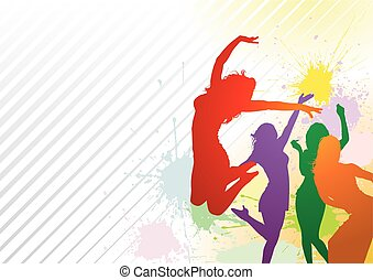 Dancing Colorful Girl Splash