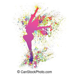 dancing colorful girl splash paint dance on white background. Vector