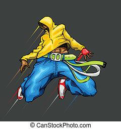 Dancing Cool Guy - illustration of cool guy in dancing pose
