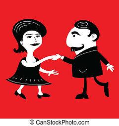 A retro cartoon couple dancing.