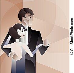 Dancing couple Art Deco geometric style poster - Vintage Art...