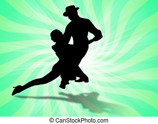 Couple dancing a sexy tango on the background