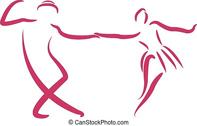 Dancing couple logo. - Couple dancing swing dance isolated...