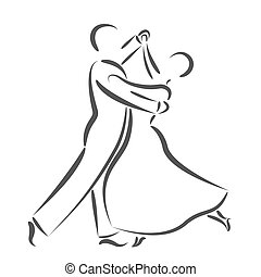 Dancing couple logo isolated on white background. Dancing...