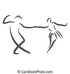 Dancing couple logo. - Couple dancing swing dance. Sketched...