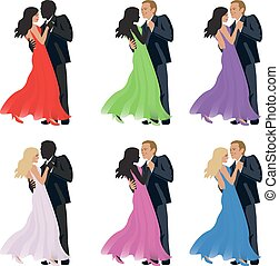 Dancing couple on a white background. Vector.