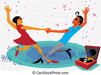 Dancing Couple - Two teens dancing with music coming from an...