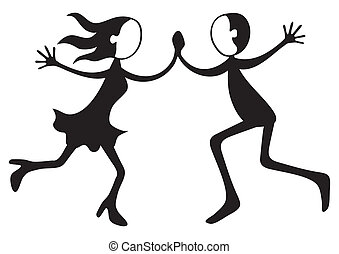 Dancing couple - Illustration of boy and girl dancing crazy...