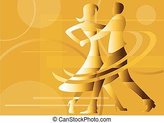 Dancing couple yellow background