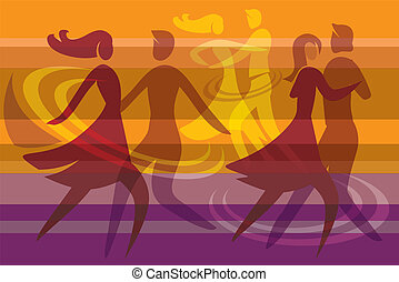 Dancing couples colorful background