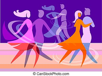 Dancing couples - Colorful illustration with silhouettes of...