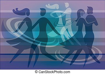 Dancing couples purple background